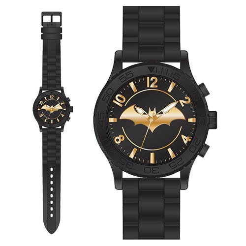 Batman Gold Emblem Rubber Strap Watch