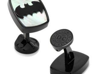 Batman Logo Mother of Pearl Stainless Steel Cufflinks