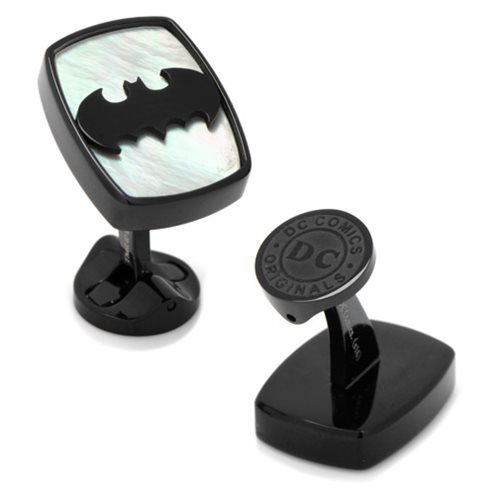 Batman Logo Mother of Pearl Stainless Steel Cufflinks