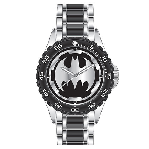 Batman Logo Watch with Black Metal Bracelet Band