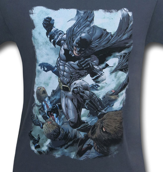 Batman Punch on Grey Shirt