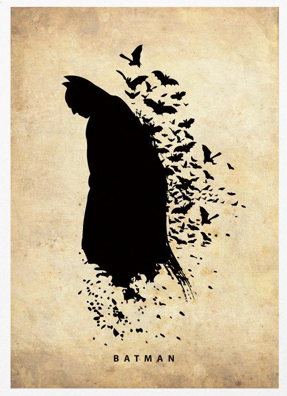 Batman Superhero Silhouette Poster