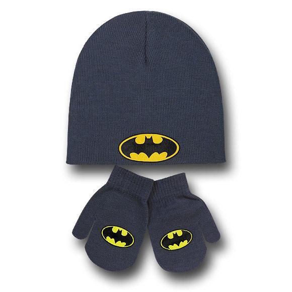Batman Toddler Symbol Beanie with Mittens