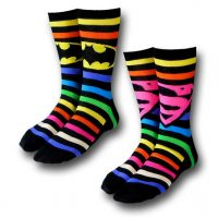 Batman and Superman Neon Striped Socks