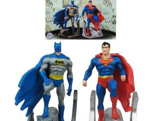 Batman and Superman Resin Bookend Statues
