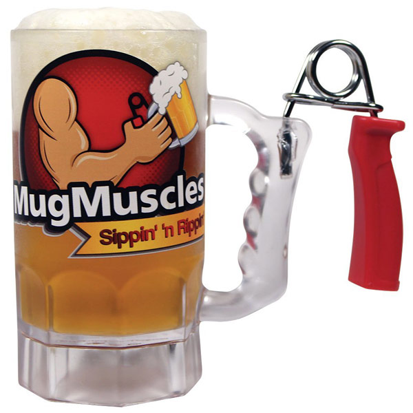 Beer Mug with Hand Grip Exerciser Handle