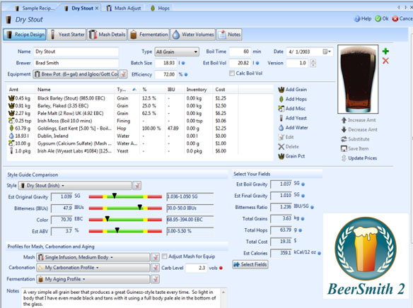 Beersmith home brewing software for Brewery design software