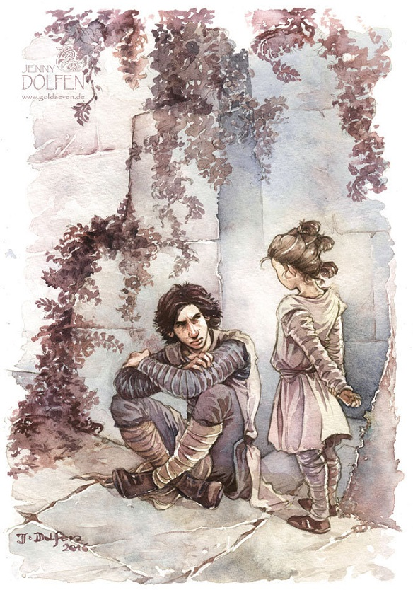 Ben Solo and Little Rey Art Print