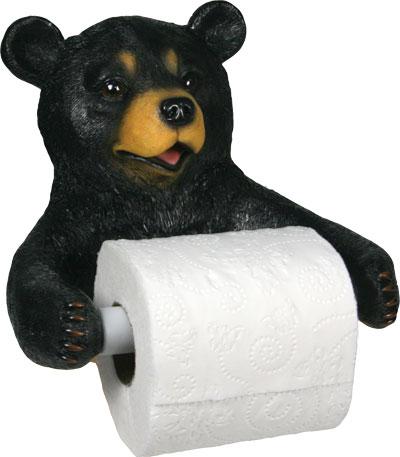 Black Bear Toilet Roll Holder