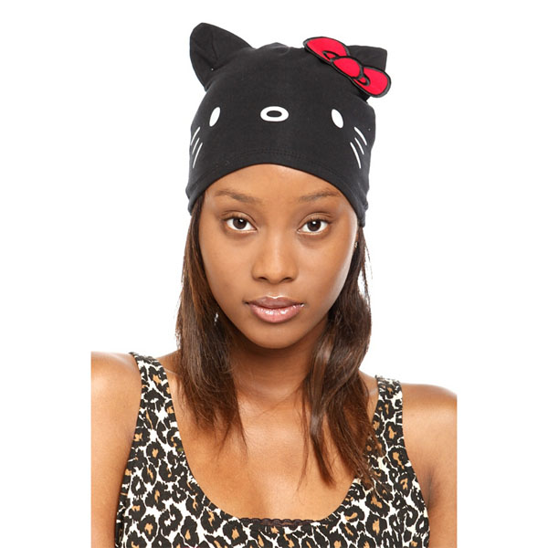 Black Hello Kitty Face Beanie