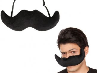 Black Plush Mustache Mask