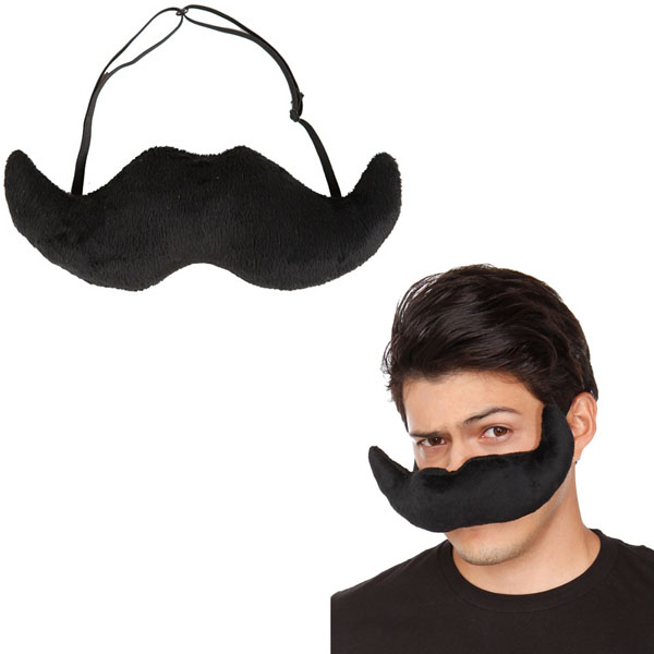 Black Plush Mustache Mask