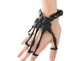 Black Skeleton Hand Ring Stretch Bracelet
