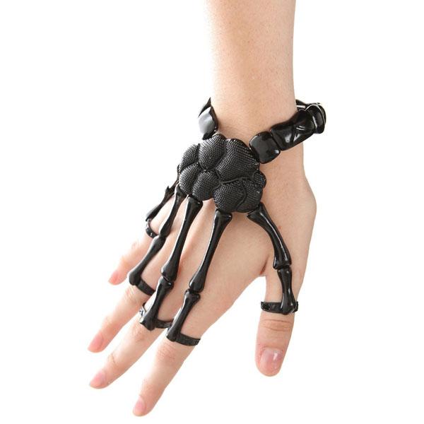 Black Skeleton Hand Ring Stretch Bracelet