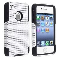 Black Skin White Meshed Plastic Hybrid Case