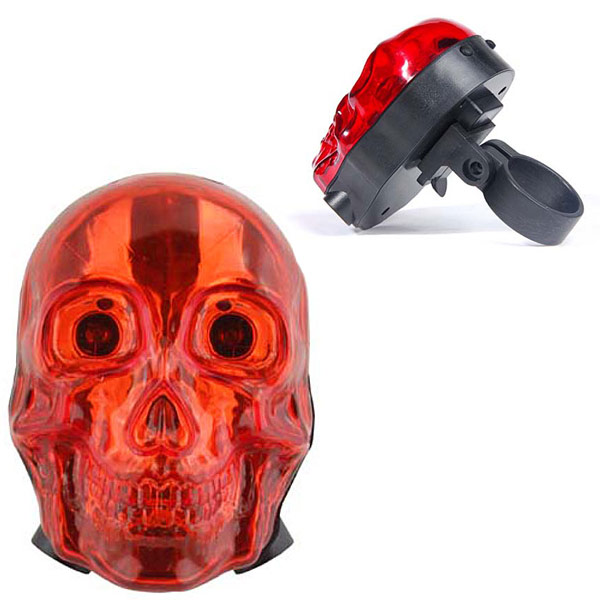 Blazing Skull Bicycle Tail Light With Laser Cannon Lane Markers