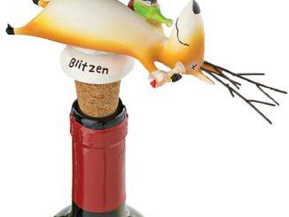 Blitzen on His Back Wine Bottle Stopper