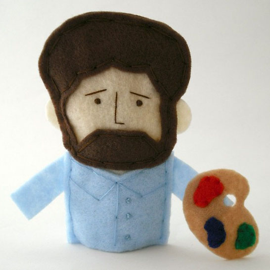 Bob Ross Hand Made Finger Puppet