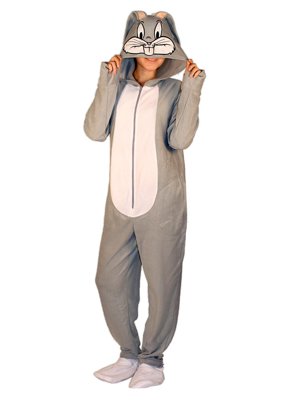 Bugs Bunny Hooded Footed Adult Pajamas Geekalerts