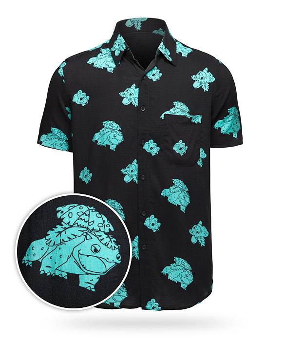 Bulbasaur Evolution Short Sleeve Button-Up Shirt