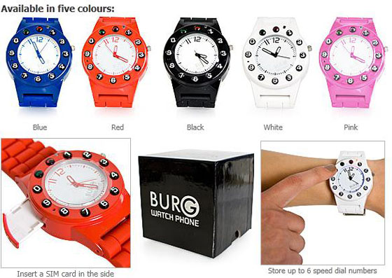 Burg5 Spy Watch Sim Card Phone