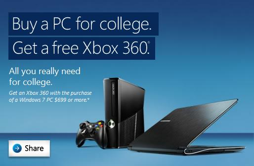 Buy A PC for College Get a Free Xbox 360