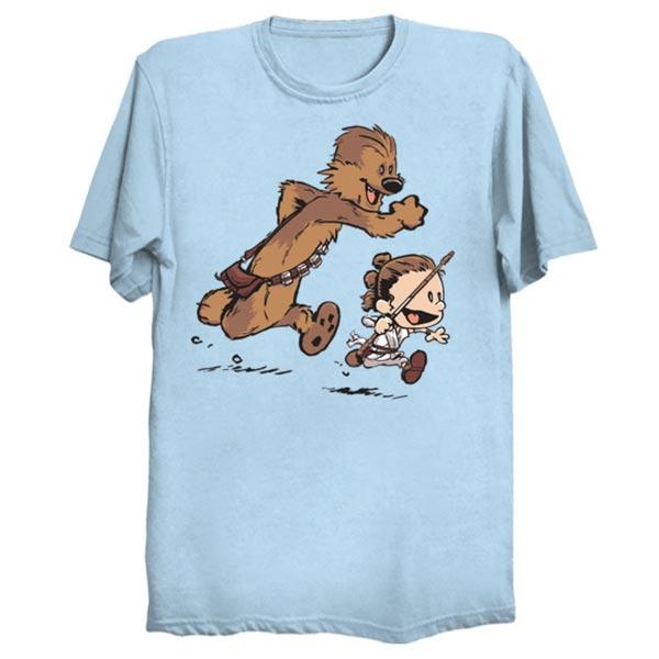 Calvin Hobbes Star Wars Chewbacca Han Solo T Shirt