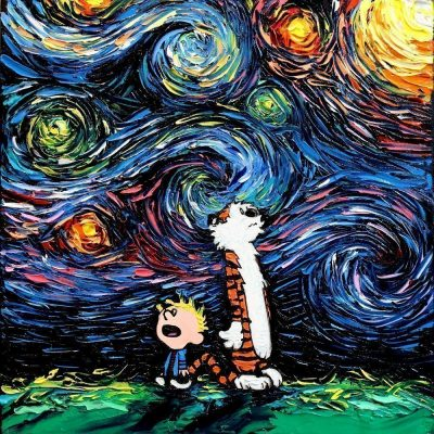 Calvin and Hobbes Starry Night Print