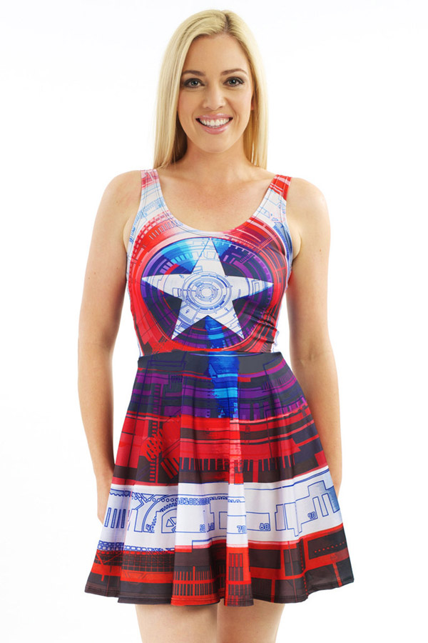 Captain America Aerodynamic Shield Skater Dress