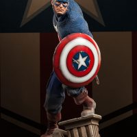 Captain America Allied Charge on Hydra Premium Format Figure with Round Shield