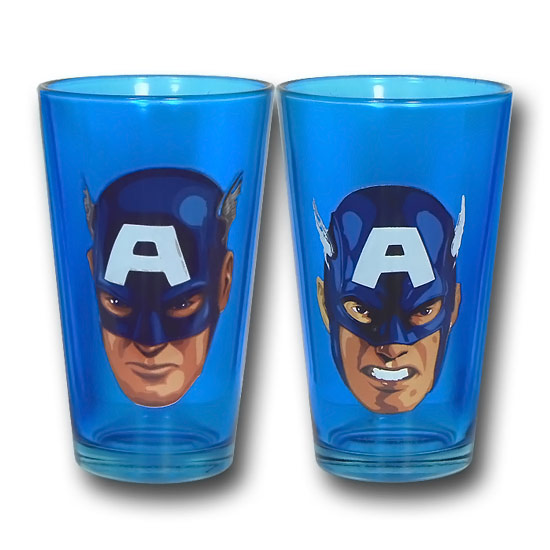 Captain America Expressions Blue Pint Glasses
