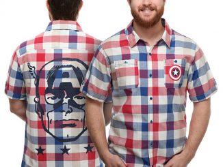 Captain America Plaid Button-Down Shirt