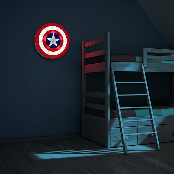 captain america shield light up wall art with sound. Black Bedroom Furniture Sets. Home Design Ideas