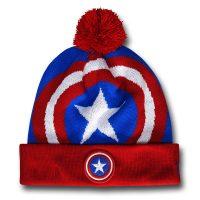Captain America Shield Symbol Pom Pom Beanie