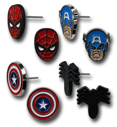Captain America Spiderman 8-Piece Earring Set