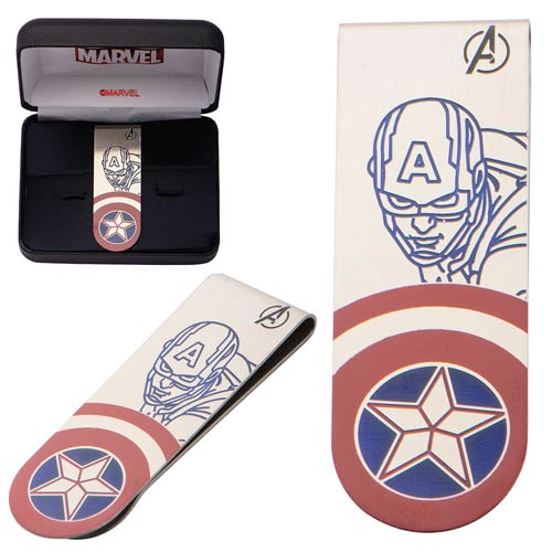 Captain America Stainless Steel Laser Etched Color Money Clip