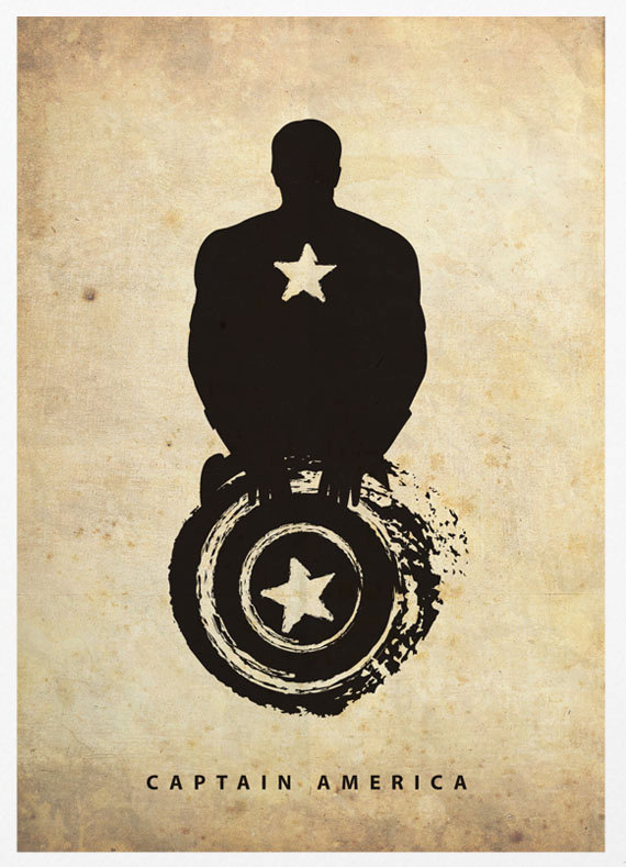 Captain America Superhero Silhouette Poster