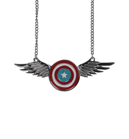 Captain America Winged Shield Necklace