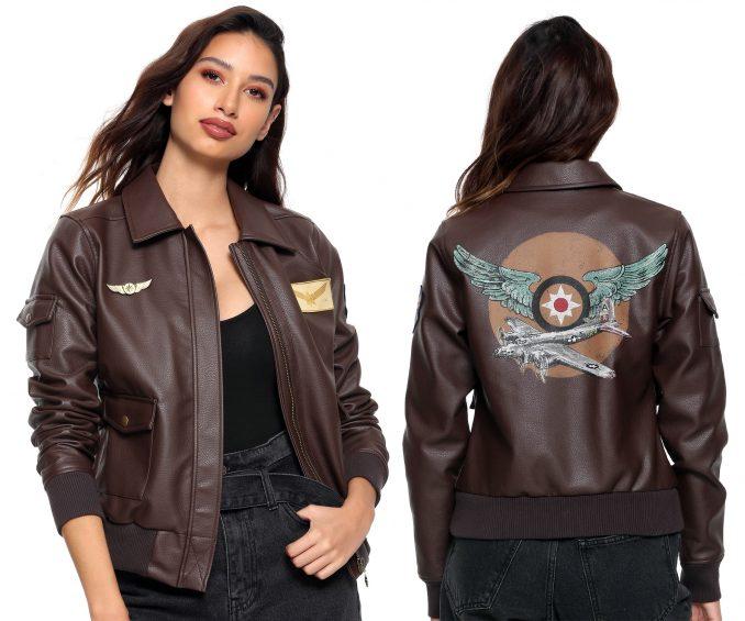 Captain Marvel Faux Leather Aviator Jacket