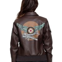 Captain Marvel Faux Leather Aviator Jacket Back