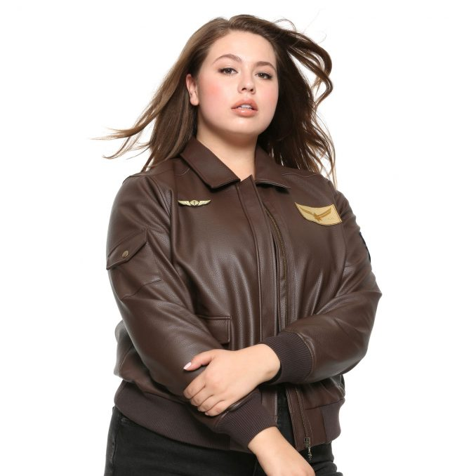 Captain Marvel Faux Leather Aviator Jacket Plus Size