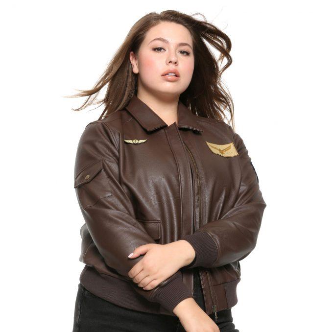 Captain Marvel Faux Leather Aviator Jacket Plus Size