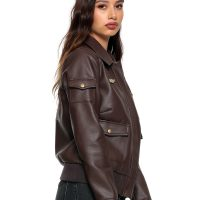 Captain Marvel Faux Leather Aviator Jacket Pocket