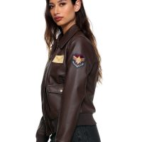 Captain Marvel Faux Leather Aviator Jacket Side Patch