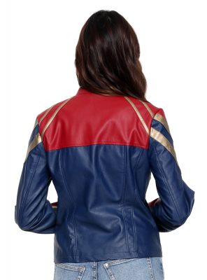 Captain Marvel Star Faux Leather Jacket Back