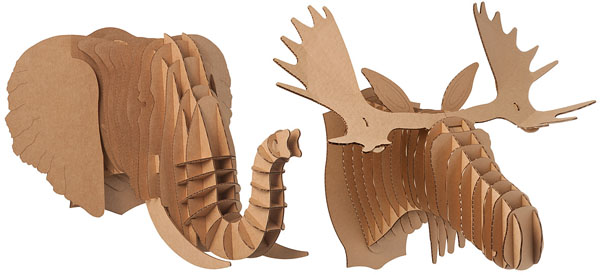 Cardboard Safari Animal Head Trophies