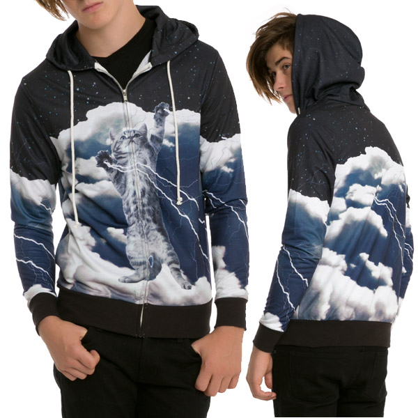 Cat Lightning Sublimation Zip Hoodie