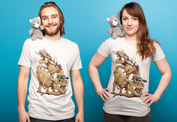 Cats Riding T-Rexs T-Shirts