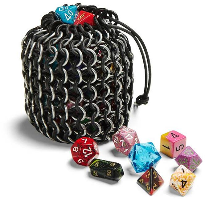 Chain Mail and Rubber Gaming Dice Bag