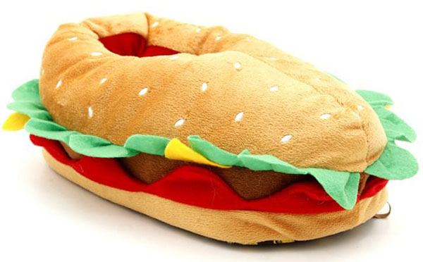 Cheeseburger Plush Slippers